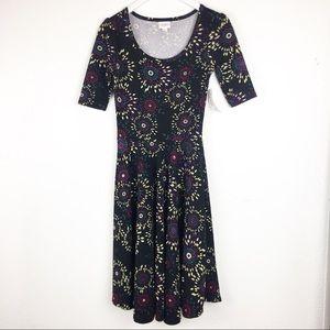 LuLaRoe Size XS Black Firework Print Nicole Dress